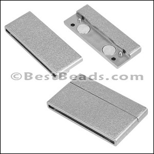 40mm flat ACRYLIC magnet PEWTER - per 10 clasps