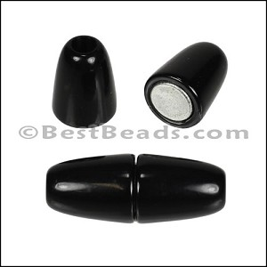 4mm round ACRYLIC magnet SHINY BLACK - per 10 clasps