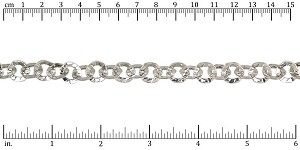 hammered washer chain RHODIUM - per 10ft spool