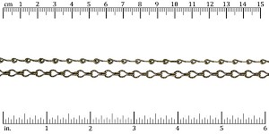Etched Gear Link chain ANT. BRASS - per 50ft spool