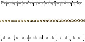 4.5mm Rolo Box chain ANT. BRASS - per 50ft spool