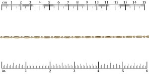 2mm Lined Ball Bar chain GOLD - per 50ft spool