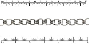 Woven Scroll Links chain ANT. SILVER - per 25ft spool