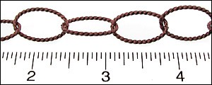 oval rope chain ANT. COPPER - per 10ft spool