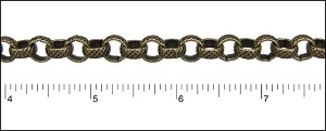 8mm rolo etched crosshatch chain ANT. BRASS - per 50ft spool