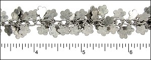 flower dangles chain ANT. SILVER - per 10ft spool