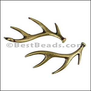 DEER HORNS euro charm ANT BRASS- per 10 pieces