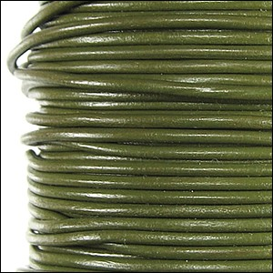 1.5mm round Greek leather dyed OLIVE GREEN - per 50m SPOOL