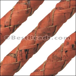 10mm round BRAIDED CORK ORANGE - per 2 meters