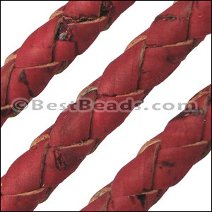 10mm round BRAIDED CORK RED - per 2 meters