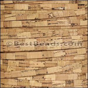 5mm flat STRIPED cork NATURAL - per 5 meters