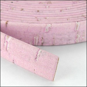 5mm flat CORK PINK - per 5 meters