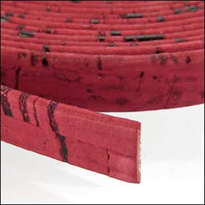 5mm flat CORK RED - per 5 meters