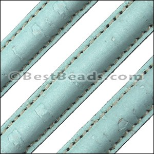 Stitched Mini Regaliz® CORK PALE TURQUOISE - per 1 meter