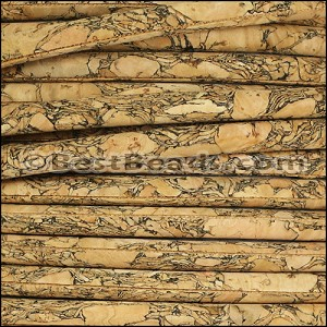 5mm round MARBLED cork NATURAL - per 10m SPOOL