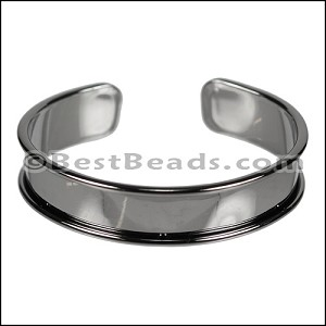 10mm Flat GLUE-IN CUFF Gunmetal - per 5 pieces