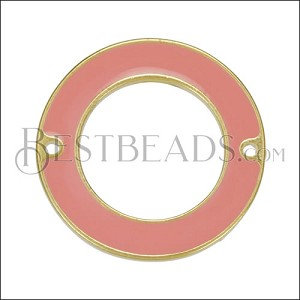 27mm Ring Connector Pendant GOLD EPOXY - Coral - per 2 pieces