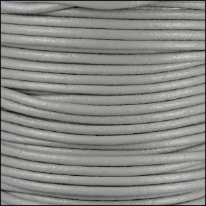 2mm round Euro leather LIGHT GREY- per 25m SPOOL