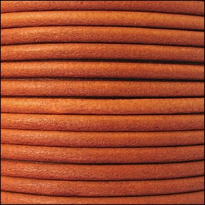 3mm round Euro leather BURNT ORANGE - per 25m SPOOL