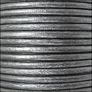 3mm round Euro leather METALLIC SILVER - per 25m SPOOL