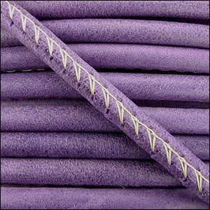 5mm round ARIZONA stitched leather VIOLET - per 10m SPOOL