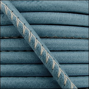 5mm round ARIZONA stitched leather FADED DENIM - per 10 feet