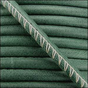 5mm round ARIZONA stitched leather FOREST GREEN - per 10 feet
