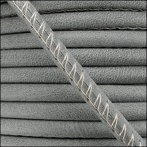 5mm round ARIZONA stitched leather GREY - per 10m SPOOL