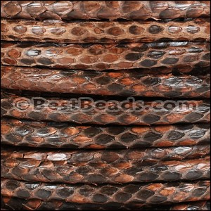 5mm Round Python leather per meter - Medium Brown