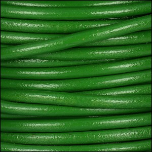 4mm round Euro leather GRASS GREEN - per 10 feet