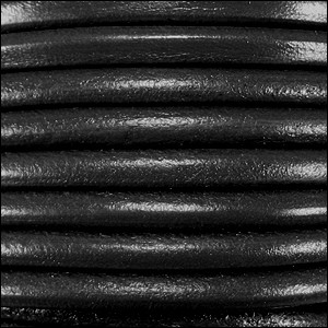 4mm round Euro leather BLACK - per 20m SPOOL