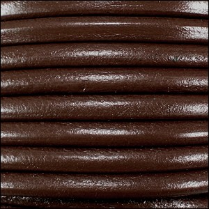 5mm round Euro leather BROWN - per 10 feet