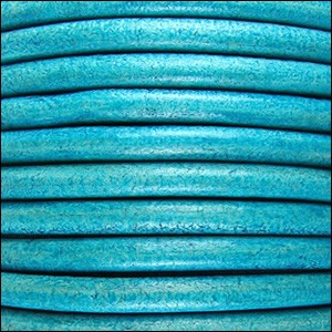 4mm round Euro leather DISTRESSED TURQUOISE - per 10 feet