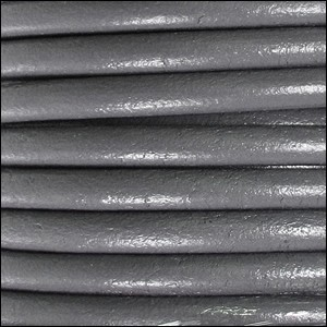 4mm round Euro leather LIGHT GRAY - per 10 feet