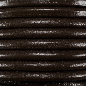 4mm round Euro leather DARK BROWN - per 10 feet