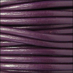 4mm round Euro leather PLUM - per 10 feet