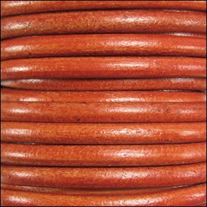 5mm round Euro leather DISTRESSED ORANGE - per 20m SPOOL