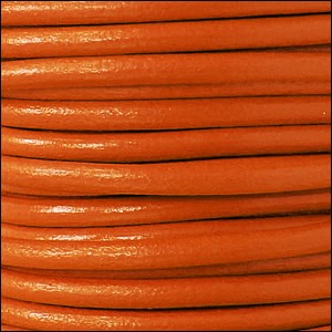 5mm round Euro leather TANGERINE - per 10 feet