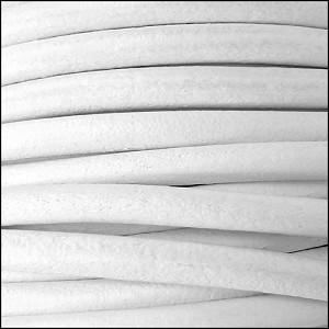 4mm round Euro leather WHITE - per 10 feet