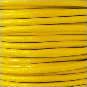 5mm round Euro leather YELLOW - per 20m SPOOL