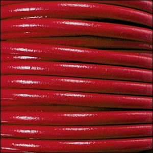 2mm round Euro leather RED - per 25m SPOOL