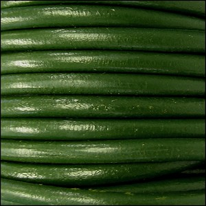4mm round Euro leather GREEN - per 20m SPOOL