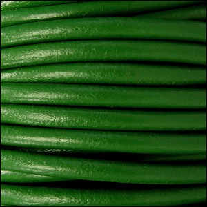 4.5mm round Euro leather GRASS GREEN - per 20m SPOOL
