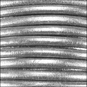 4mm round Euro leather METALLIC SILVER - per 10 feet
