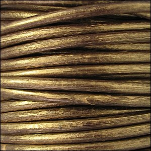 4.5mm round Euro leather METALLIC GOLD/BROWN - per 20m SPOOL