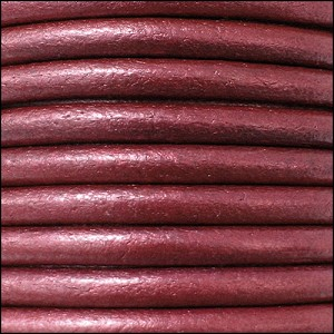4.5mm round Euro leather METALLIC CHERRY - per 20m SPOOL