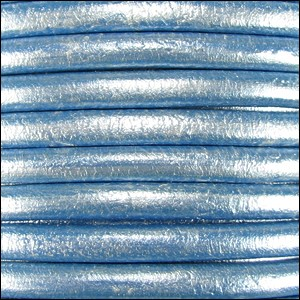 5mm round Euro leather METALLIC SKY BLUE - per 10 feet