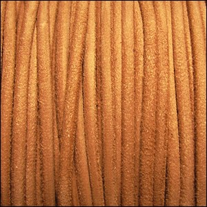 3mm round SUEDE Euro leather APRICOT - per 10 feet
