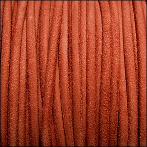 3mm round SUEDE Euro leather ORANGE - per 25m SPOOL