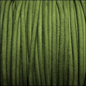 3mm round SUEDE Euro leather GREEN - per 25m SPOOL